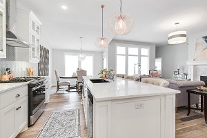White Kitchen and Natural Wood Floor