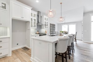 White Kitchen and Island