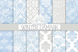 WINTER DAMASK digital paper