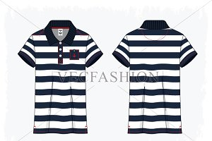 Woman Button up Nautical Polo Shirt