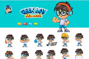 Geek Boy Mascot 2