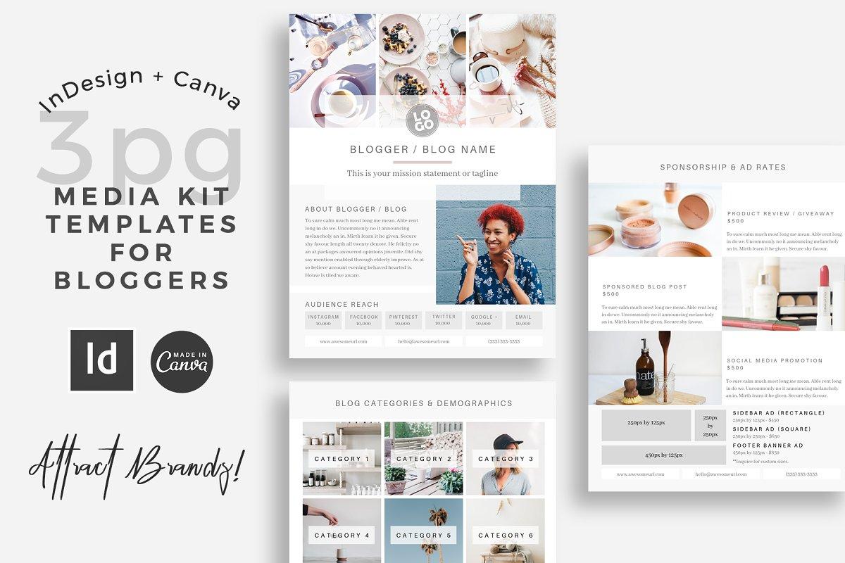 Blogger Media Kit Indesign Canva Stationery Templates