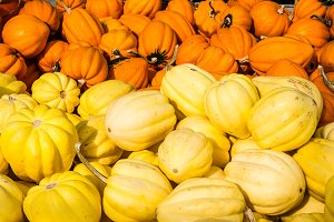White and orange acorn winter squash