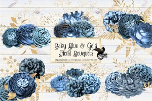 Baby Blue & Gold Bouquets