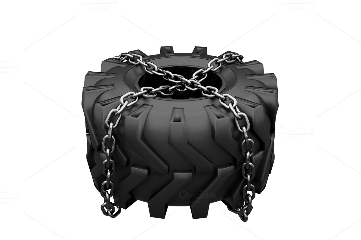Tractor tire chains wrapped
