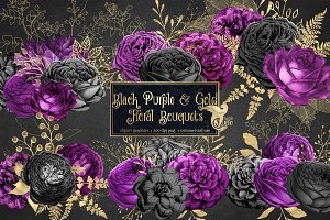 Black Purple & Gold Floral Clipart