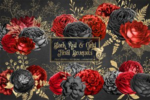 Black Red & Gold Floral Bouquets