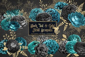 Black Teal & Gold Floral Bouquets