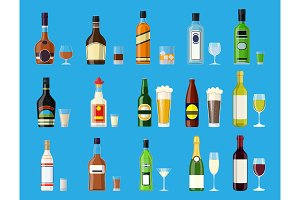 Alcohol drinks collection.