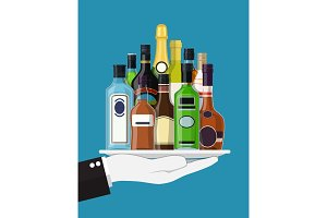 Alcohol drinks collection in tray of