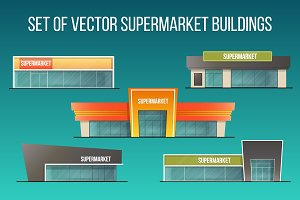 Set of supermarket buildings.