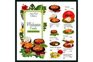 Malaysian cuisine menu