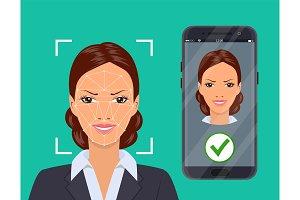 Facial recognition system concept.