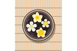 bowl with four frangipani