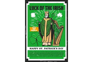 Irish Saint Patrick with shamrock