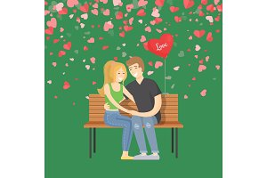 Hugging Man and Woman on Bench