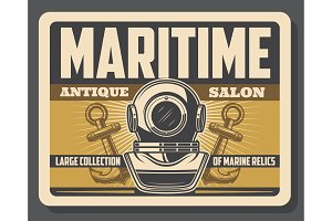 Nautical diving helmet and anchors