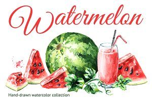 Watermelon. Watercolor collection