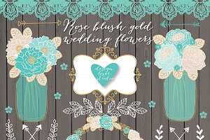Vector Rose teal gold wedding