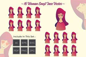16 Woman Emoji Face Vector Set