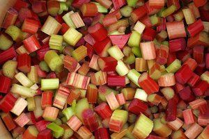 Cut  pieces of rhubarb