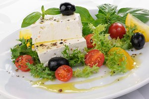 Cubes of feta cheese