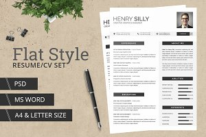 Flat Style Resume/CV - With MS Word