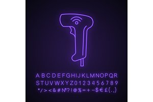 Wireless barcode scanning neon icon