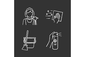 Cleaning service chalk icons set