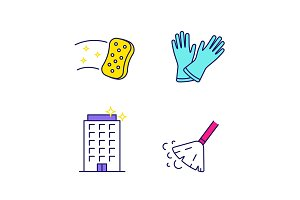 Cleaning service color icons set