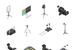 Broadcasting equipment icons set