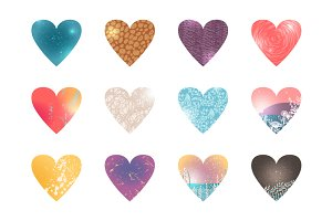 Collection of Colored Hearts