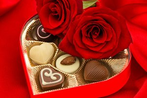 Red roses chocolate Love Heart