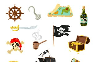 Pirate accessories flat icons
