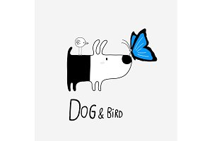 Dog & Bird with a Morpho Butterfly