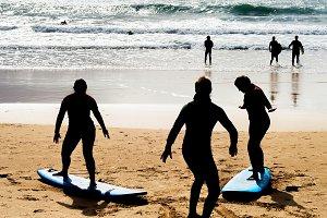 Surfing school lesson beach Portugal