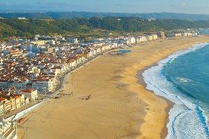 Skyline of Nazare, beach. Portugal