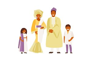 African family in traditional dress