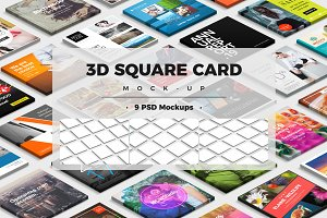 3D Square Card Mock-up PSD