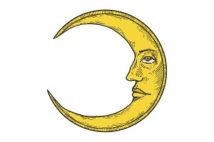 Moon with face engraving vector