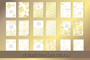 50 Golden Floral Card Templates