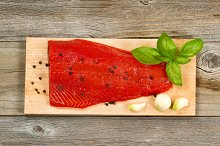 Red Salmon on Cooking Plank
