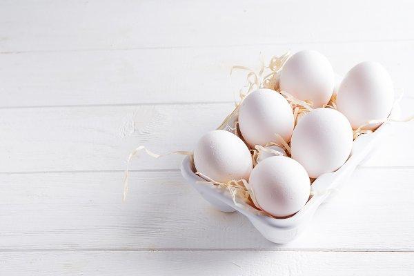 Stock Photos: Yuliia Mazurkevych photo - Organic white chicken eggs in