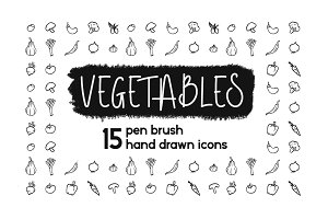 Pen Brush Hand Drawn Vegetables Set