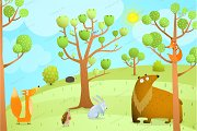 Forest Summer landscape with animals