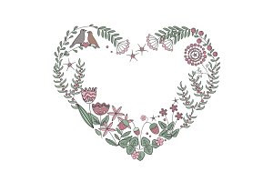 Floral heart frame with isolated