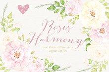 Watercolor roses harmony cliparts