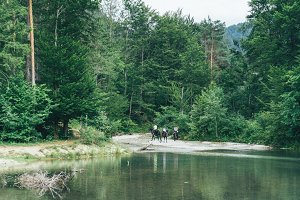 Horse riding by the river