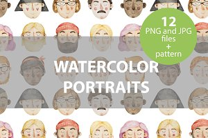 12 watercolor portraits