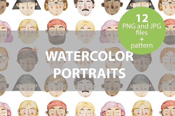 Graphics: KattyDreamer - 12 watercolor portraits